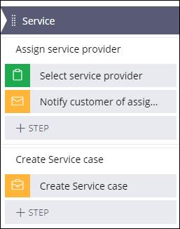 Create service case step