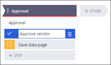 Approve vendor step in the Approval stage of the New Vendor case type
