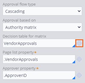 Approve vendor step fully configured with cascading approval based on authority matrix