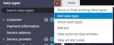 Add new data type from the Data type pane