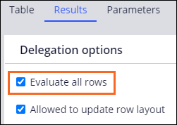 Decision table Results tab with Evaluate all rows option selected
