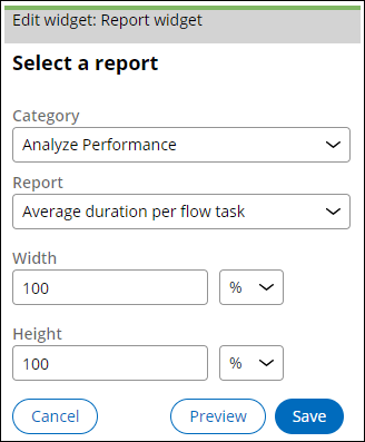 Editing the Report widget to display the Average duration per flow task report.