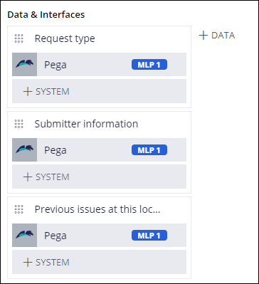 Data objects added to the Create stage with MLP 1 tagged