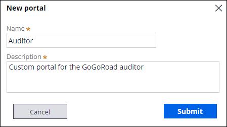 New portal dialog box
