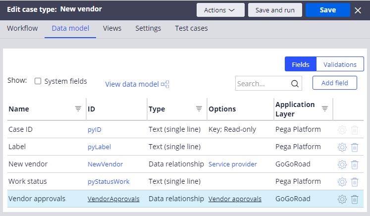 New vendor case type data model