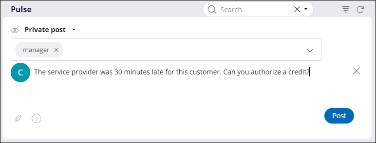 Pulse message requesting a service credit for a customer.