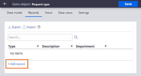Request type add a record