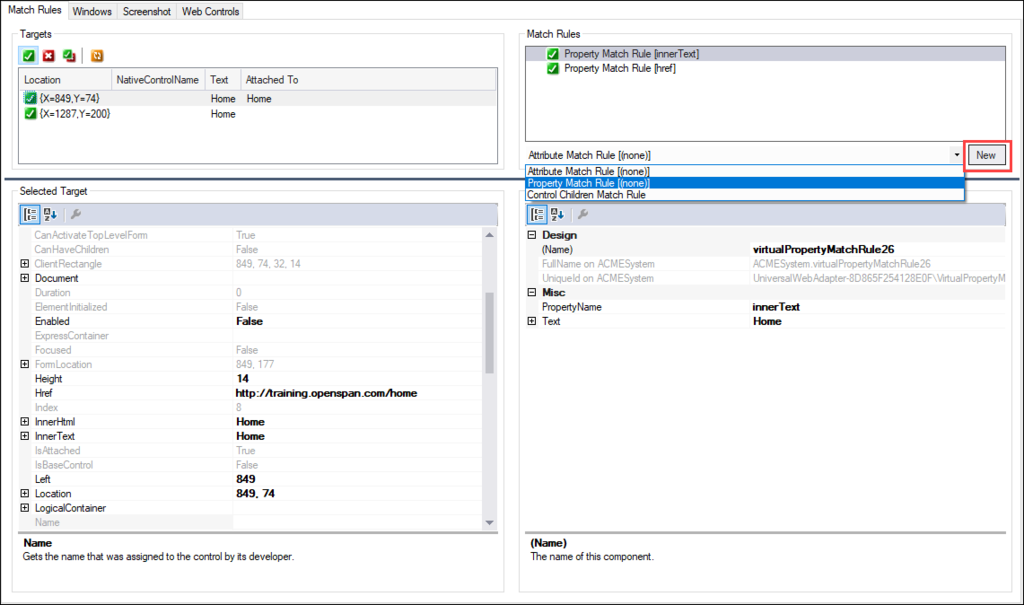 Screenshot showing the Match Rules window with the dropdown extended
