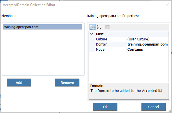 Screenshot showing the accepted domains configuration