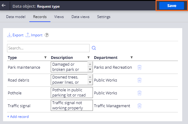 Save request type data object