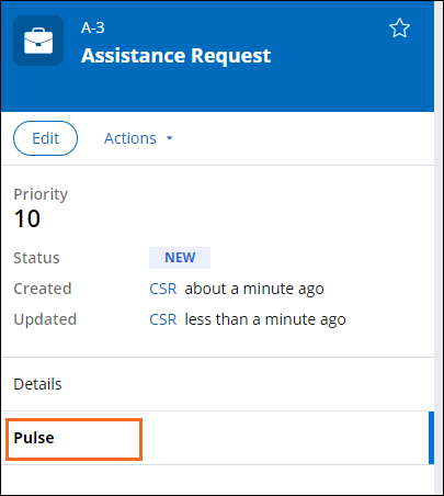 The Pulse tab selected in the Summary pane of a case.