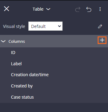 Add columns icon in the table properties pane