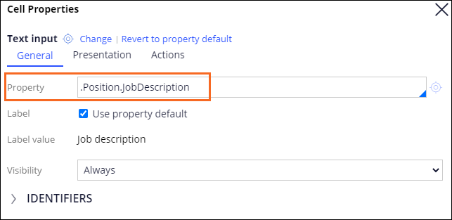 Text input field property configuration