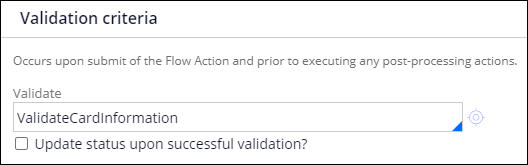Validation criteria for EnterPaymentInformation flow action