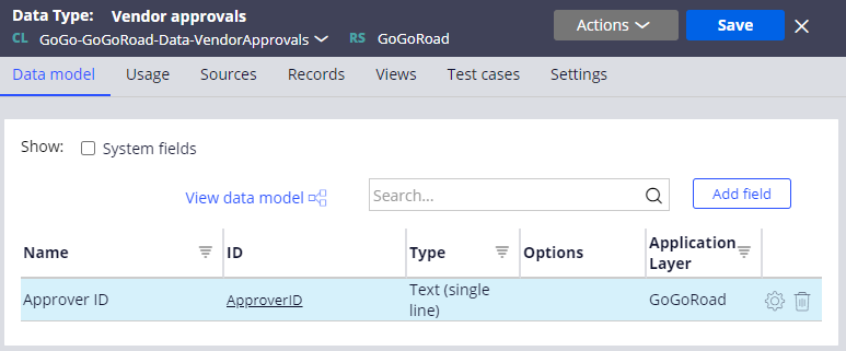 Vendor approvals data type with Approver ID field