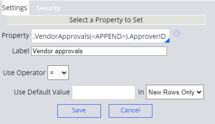 Configuration of the Actions header in the Vendor Approvals decision table
