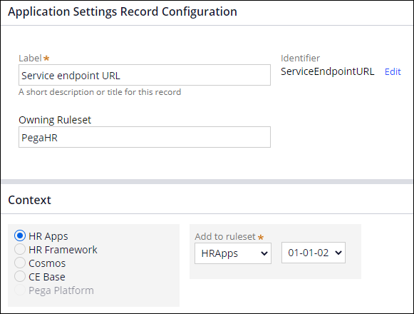 Application settings record configuration