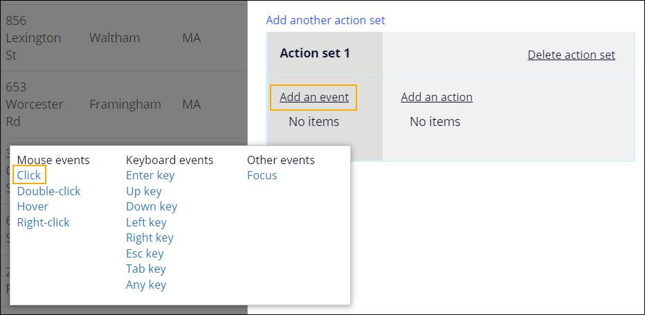 Add a click event