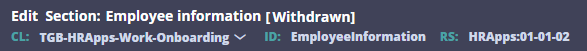Employee Information section in the Onboarding case type Withdrawn