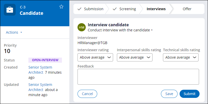 Interview candidate step with status of Open-Interview