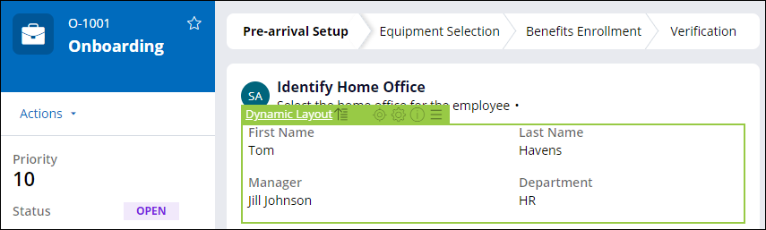Live UI to select a dynamic layout in the Identify Home Office view