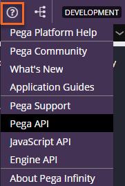 Pega help resource menu