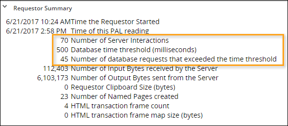 Requestor summary