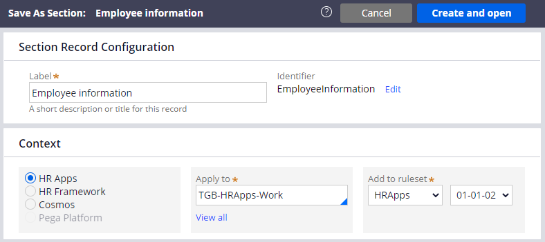 Save a copy of Employee Information section to the Work class