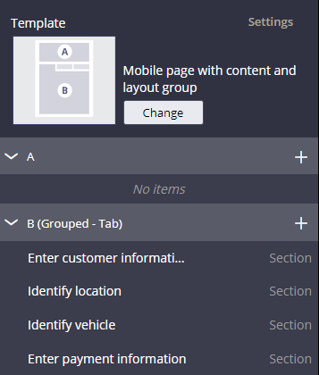 image shows change icon and regions in the template
