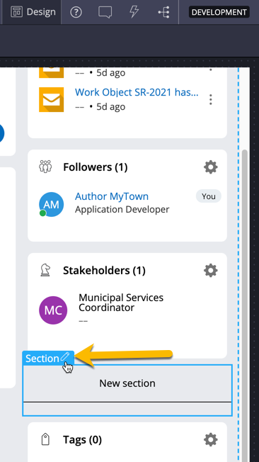 Click the pencil icon to edit the newly created utility section