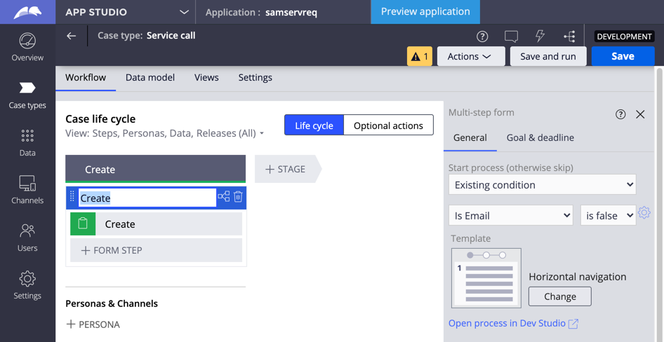 Creating a new case type automatically includes a Create stage