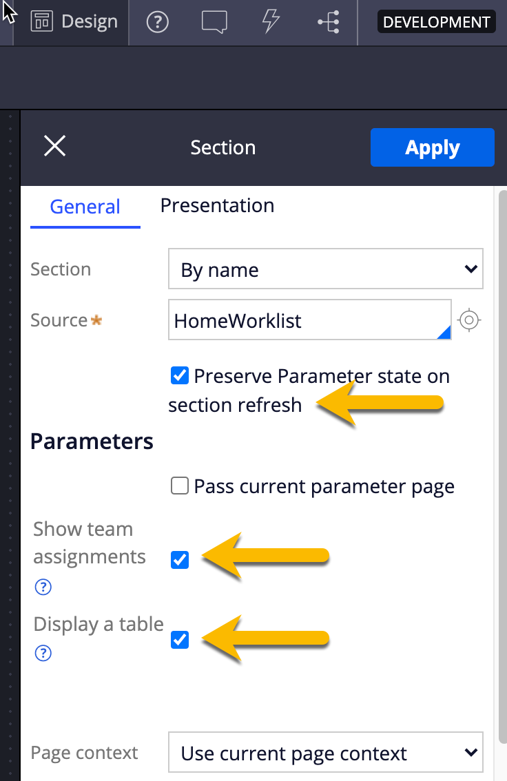 Enabling options on the HomeWorklist section