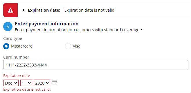 validation message