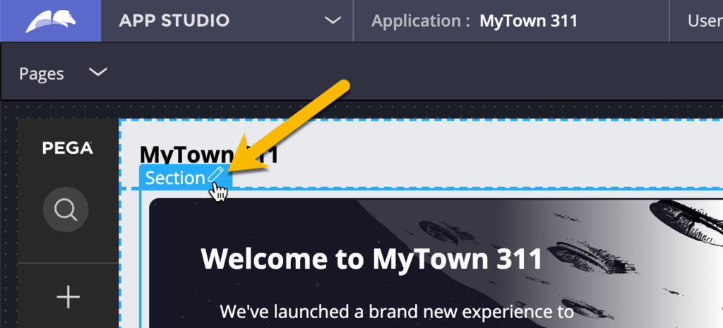 Hover over any editable region and click the pencil icon