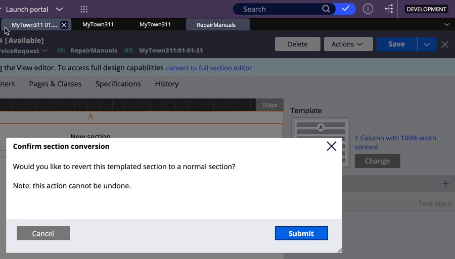 Click submit when prompted to confirm section conversion