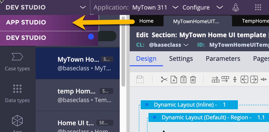 Use menu to return to App Studio