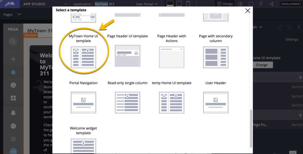 Selecting the the new template in the dialog