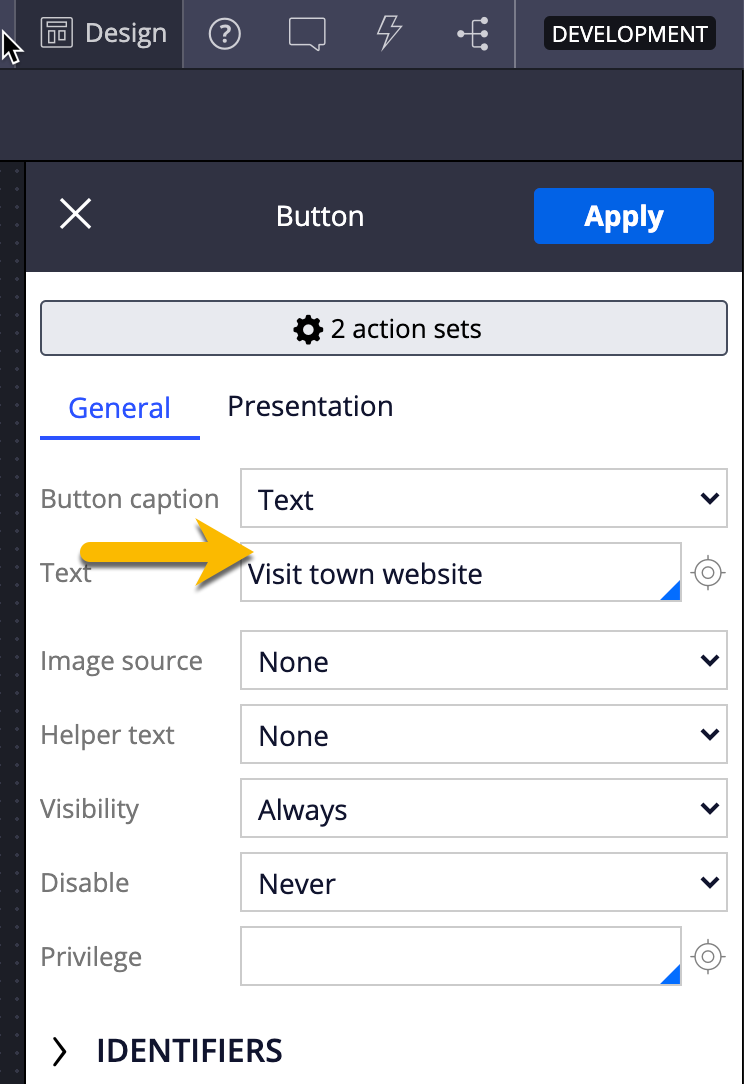 Updating the button text
