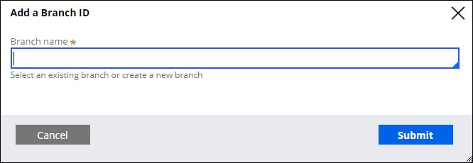 Add a Branch ID form