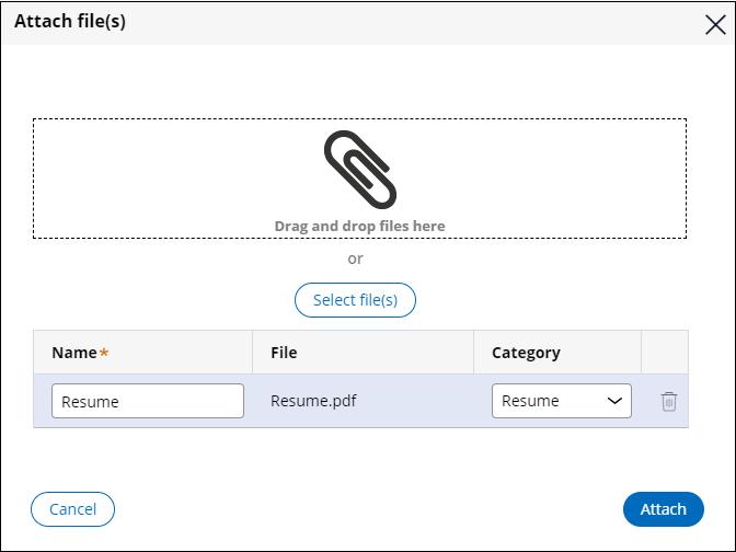 User Attach files view