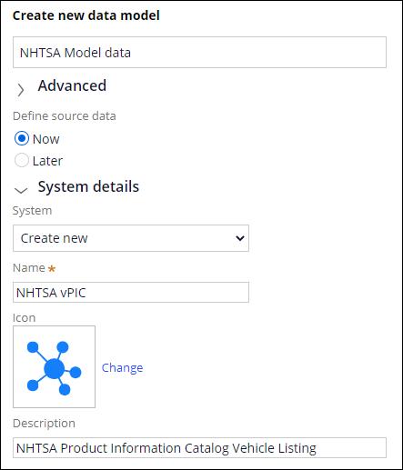 Create model data