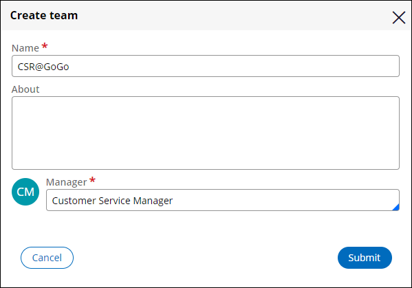 The Create team window, displaying details needed to create the CSR@GoGo team.