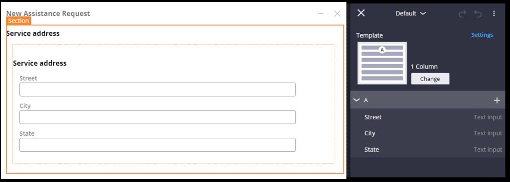 default Service address section configuration pane