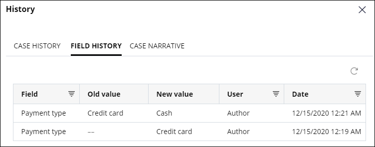 The field history for an Assistance Request case, for which the payment type was changed to Cash.