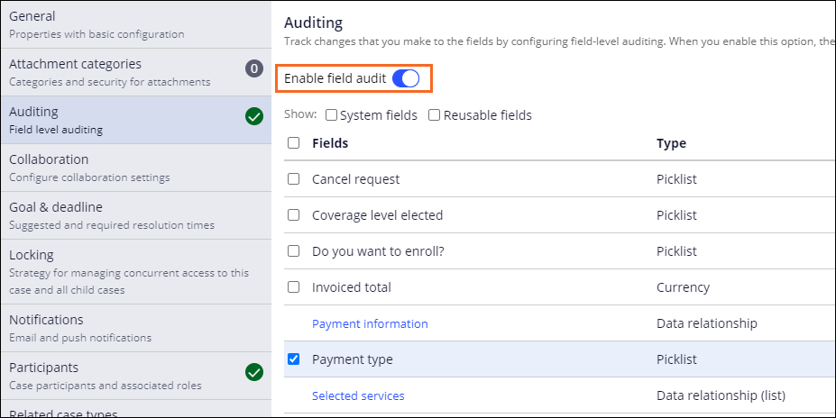 The Auditing tab of the Assistance Request case type, with field-level auditing enabled.