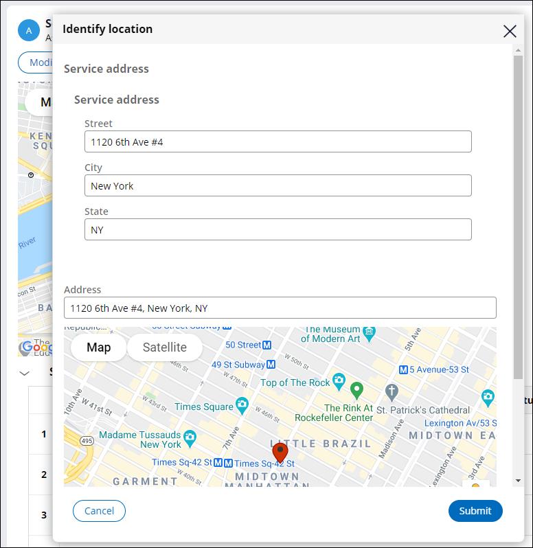 Identify location modal dialogue box