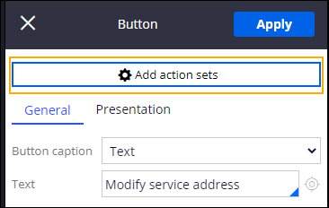Modify service address button add action sets