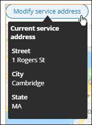 hover on Modify service address button