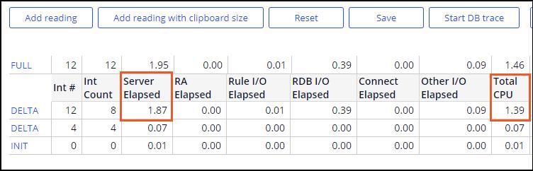 Screenshot of PAL readings before enhancements.