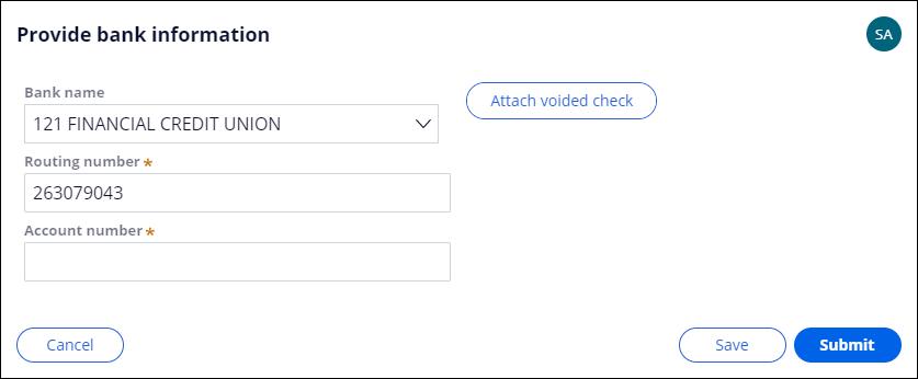Provide bank information form filled out